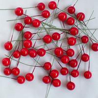 ingrosso bacche artificiali-Fiori artificiali Stami Schiuma Frutta Piccole bacche Ciliegia Per Matrimonio Natale Scatola per dolci Decorazione per ghirlande