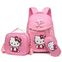 Pink Hello Kitty Girls Backpack School Bag With Lunch and Pencil Case Set 3 for  Children Primary School Book Bags 6a362e53aaf8d