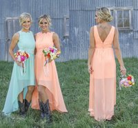 Wholesale Mint Dresses For Prom - 2018 High Low Cheap Country Bridesmaid Dresses Chiffon Coral Mint Green Beach Maid Of Honor Dress For Wedding Party Prom