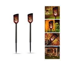 Wholesale portable spotlight for sale - Torches Lights Outdoor Solar Lights Waterproof Flickering Flames Spotlights LEDs Landscape Lighting Dusk To Dawn Garden Security Light