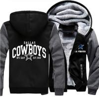 Wholesale Usa Coatings - Wholesale- Dropshipping USA Size Men Women Unisex Cowboys Hoodies Zipper Sweatshirts Jacket Winter warmth Thicken Hooded Coat