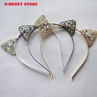 Wholesale Novelty Tiaras - 2017 Novelty Kids Cat Ears Headband Crystal Hairband Festival Hair Bezel Girls Crown Tiara Rhinestone Headdress