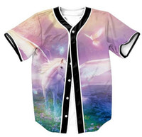 Wholesale women s fashion baseball jerseys resale online - New Fashion Men Women Clothing D Print Animal Horse Pink Baseball T Shirt Summer Short Sleeved Button Cardigan Jersey T Shirts
