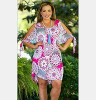 c8c4b8460e87e floral women shoulder dress big size summer O-neck Bandage sexy shoulder  fat girl plus size dress fashion design long printed shirt