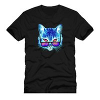 ingrosso occhiali cosmetici neri-Cat. Cosmetic Cat Sun Glasses Mashup Dtg Mens T Shirt Tees100% Cotton Manica corta O - Neck Top Tee Shirts Nero Style