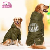 Wholesale fleece coats for dogs - Army Green Winter Warm Big Large Dog Pet Clothes Hoodie Fleece Golden Retriever Dog Cotton Padded Jacket Coat Clothing For Dog
