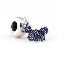 Wholesale jewellery making accessories online - Authentic Sterling Silver Sparkling Blue CZ Pave Ear Hat Dangle Beads for Jewelry Making Fits Women Diy Jewellery Bracelets Accessories