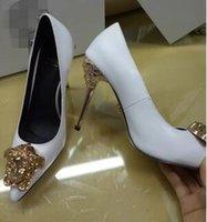 Wholesale Eur 42 - 2018 New Luxury Brand Women's Shoes Medusa High Heels black Genuine Leather Pointed Toe Pumps woman Dress Party Shoes Eur 36-42