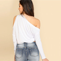 ingrosso camicia asimmetrica del bordo-Maglietta a tinta unita asimmetrica a spalla larga a spalla asimmetrica con collo a molla manica lunga donna manica lunga bianca t-shirt femminile