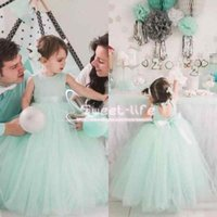 Wholesale back cut out tulle dress resale online - Lovely Mint Tulle Ball Gown Flower Girl Dresses For Weddings Jewel Cut Out Back Bow Tulle Floor Length Birthday Communion Party Gowns