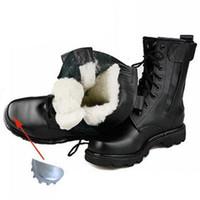 botas de nieve rusas al por mayor-Hombres Invierno Botas de seguridad con punta de acero Botas militares de cuero genuino Estilo ruso Más cálido Lana natural Hombres Botas para la nieve Bota de motocicleta