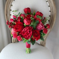 Wholesale Cheap Brooch Wedding Bouquets - New Cheap Red Artificial Wedding Bouquets 2018 Hand Made Rose Bacca Peony Tulip Wedding Decoration Artificial Bridal Holding Brooch Bouquets