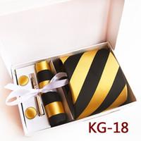 черный галстук желтые полосы оптовых-8 см дизайнер мужчины формальные галстуки набор золотой желтый с черными полосками галстук носовой платок запонки клип наборы в подарочной коробке