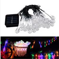 ingrosso illuminazione del tubo della bolla-Luce natalizia 50led 30led 20Led String Lights Solar Power Bubble Rain Ball stringa LED Tube Luce Xmas Wedding Party Holiday Decor Lighting