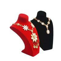 mannequin schmuck stand veranstalter großhandel-Hohe Qualität Harz Mannequin Schmuck Perlenkette Anhänger Display Bust Samt Gold Halskette Veranstalter Aussteller Halten Stand Brust