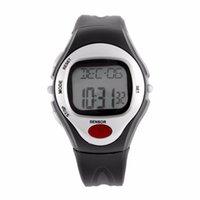 ingrosso contatore di frequenza impulsi-Pulse Heart Rate Monitor Calorie Counter Fitness Orologio digitale da polso Calendario Display Tempo Cronometro Allarme A43