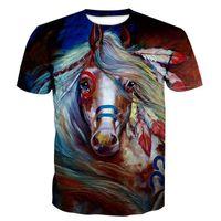 at üstü baskı toptan satış-Yaz Tasarımcı T Shirt Erkekler Tops Renkli At Baskı T Shirt Erkek Giyim Marka Kısa Kollu Tişört Kadın Tops