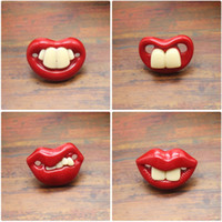 Wholesale baby white lips for sale - Creative Spoof Baby Silicone Pacifiers Joke Prank Toddler Buck Teeth Red Lips Soother Many Styles mm C R