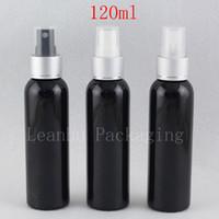 ingrosso gli ugelli della bottiglia di profumo-120ml x 40 bottiglia di plastica cosmetica nera dello spruzzo 120cc di alluminio dell'ugello di spruzzo bottiglie di profumo della pompa fine della foschia contenitori 4oz