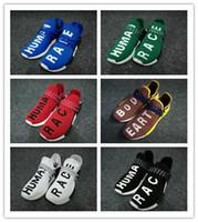 Wholesale cotton ink - Human Race Pharrell Williams Running Shoes Classic NERD Noble ink core black yellow Hu trail Men Women Runner Sport Athletic Sneaker