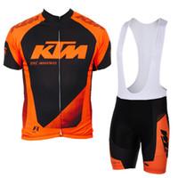 maillot cycliste manches courtes vente achat en gros de-Cyclisme manches courtes maillot bavoir / short costume vente chaude équipe KTM été hommes vêtements de vélo bonne qualité bas prix Maillot Ciclismo Y052709