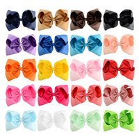 Wholesale Kids Red Hair Ribbon - 20pcs lot 8 Inch Large Kids hairbows Girl Grosgrain Ribbon Bow Clips Headdress Children Hair Accessories