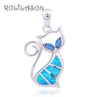 kedi hanımefendi kolye toptan satış-Toptan Perakende Tasarımcıları Kedi Mavi yangın Opal Moda takı Gümüş Damgalı Kolye Kolye Hediyeler için lady OP448