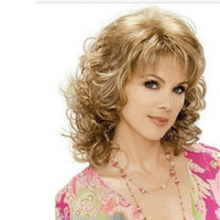 Wholesale blonde curly hair - 14 quot fashion Sexy Women Short Wig Charming Curly Wig Synthetic With Baby Blond Hair For Women Simulation Human Hair Short Bob Curly Wig