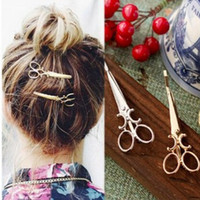 Wholesale Wholesale Hairpins - 1PC HOT Nice Women Lady Girls Scissors Shape Hair Clip Barrettes Hairpin Hair Decorations Accessories