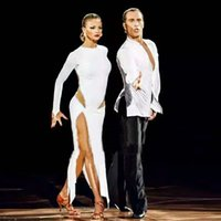 latin dance fashion costumes venda por atacado-New sexy dança latina dress mulheres moda estilo branco salsa tango vestidos lady rumba flamenco competição trajes de dança b205