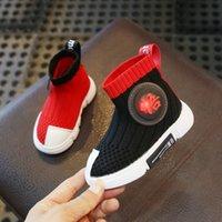 calcetines voladores al por mayor-Calcetines elásticos de los niños zapatos de 1 a 3 años otoño niño 2 zapatos de ejercicio de bebé femenino suave suela bebé niños volando tejido de punto
