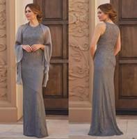 spitzenverpackungen für hochzeiten großhandel-Brown Full Lace Mutter der Braut Kleider Jewel Neck Sleeveless Formale Abendkleid mit Wrap Mutter Kleider für Hochzeiten
