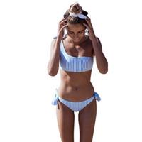 şeritler kadın mayo toptan satış-Bikini Mayo Mavi Dikey Şerit Baskı 2018 Moda Kadınlar Tek Omuz Askısı Göğüs Pedi Ile Iki Parçalı Mayo Kemer Mayo