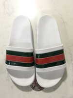 Wholesale high beach sandals - 2018 High Quality Luxury Brand Designer Men Summer Rubber Sandals Beach Slide Fashion Scuffs Slippers Indoor Shoes Size EUR 40-45