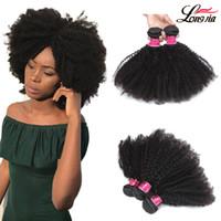 doğal afro örgü toptan satış-Toptan Bakire Brezilyalı Insan Saç Demetleri Afro Kıvırcık Doğal Renk 3 adet Demetleri Brezilyalı Saç Örgüleri Afro kıvırcık İnsan saç uzantıları