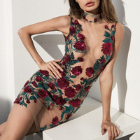 Wholesale sequined dresses resale online - Sheer Mesh Floral Design Mini Dresses Womens Skinny Bodycon Dress Sleeveless Rose Embroidery Sequined Dresses See Through