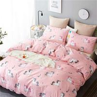 ingrosso copertura comforter rosa regina-New Cartoon Unicorn Girls Set copripiumino per bambini Teens Girls Pink Set biancheria da letto per animali Queen Completo copripiumino