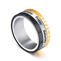 Wholesale men's rings for sale - Heyrock mm Width Men s Spinner Ring Date Number Roman Numeral Rotatable Stainless Steel Band For Women Men