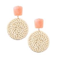 ingrosso nave di goccia della boemia-Il modo coreano di bambù ha tessuto le donne degli orecchini della Boemia dell'annata dei grandi orecchini rotondi pendenti ciondolano gli orecchini di goccia