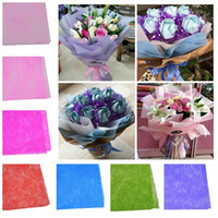 ingrosso involucro di carta bouquet-Decorative Crepe Paper Wrapping Flower Bouquets Gift Packing Wedding Event Party Handmade Fai da te Craft Decoration 100pcs / set 50 * 50cm