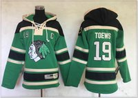 üniforma şikago toptan satış-Yeni Chicago Blackhawks # 19 Jonathan Toews Bayan Vintage Buz Hokeyi Gömlek Üniformaları Kazak Hoodies Dikişli Nakış Spor Formaları