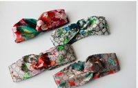 Wholesale women silk stockings - in stock Designer 100% Silk Cross Headband Fashion Luxury Brand Elastic Hair bands For Women Girl Retro Floral Bird Turban Headwraps Gifts