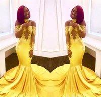 senhoras vestidos longos árabe venda por atacado-New Elegante Amarelo Fora Do Ombro Do Laço Prom Dresses 2018 Vestido de Festa Formal Mangas Compridas Sereia Apliques de Cetim Senhora Árabe Vestidos de Noite