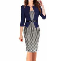 kariyer elbiseleri giydirme toptan satış-Ekose Ofis Elbise Diz Boyu Standı Boyun Baskı Çalışma Giyim Kadın Patchwork Kariyer Kadın Giyim Yaz Kemer Kalem Elbiseler