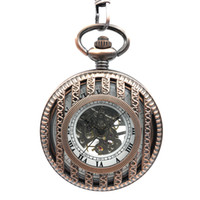 Wholesale roman lines for sale - Group buy Copper Tone Cross Line Carved Round Pocket Watch W Chain Men Luxury Gift Roman Numbers Hand Winding Skeleton Pocket Watch Gift