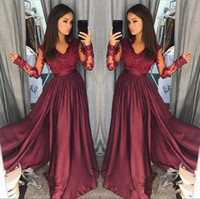 Wholesale Long Light Pink Homecoming Dresses - Burgundy V Neck Prom Dresses Long Party Evening Wear Applique Stain A Line Prom Dress Long Zipper Back Formal Party Gowns Homecoming Dress