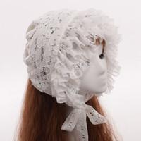 vintage victorian kostüme frauen großhandel-Frauen Victorian Lace Bonnet Nette Lolita Vintage Schwarz Weiß Maid Cosplay Kostüm Hut Headwear Schnelle Lieferung