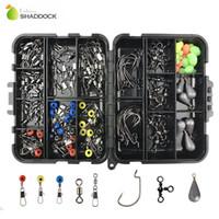 ingrosso accessori da pesca sinker-shaddock 160 Pz / scatola Accessori Ganci Girevoli Piombo Sinker Con Anello Carp Fishing Tackle Boxes C18110601