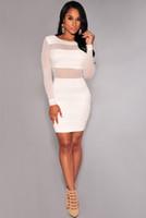 içi boş bandaj patchwork elbisesi toptan satış-Patchwork Xs-Xxl Seksi Bandaj Elbise Yeni Kış Siyah Beyaz Elbise Örgü Patchwork Hollow Out Kalem Bodycon Elbise Kadın Elbiseler