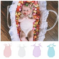 Wholesale knitted baby halloween costumes - Newborn Baby Romper Photography Clothing Infant Photography Costume with Pearls Baby Photography Props Knitted Baby Rompers KKA4250